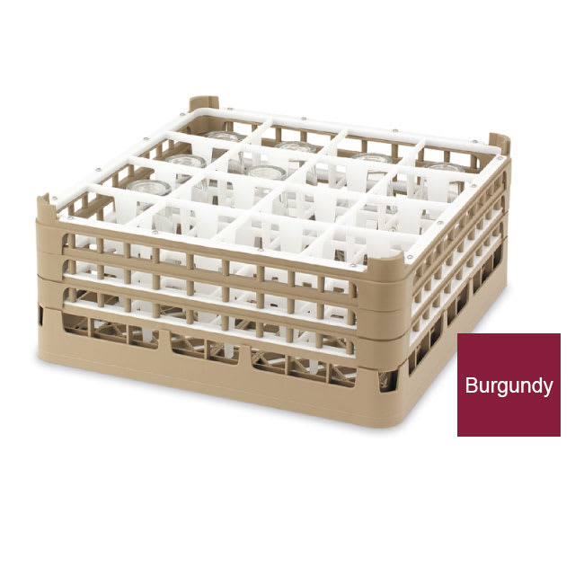 Vollrath 52779 Dishwasher Rack - 36 Compartment, Medium Plus, Full-Size, Burgundy