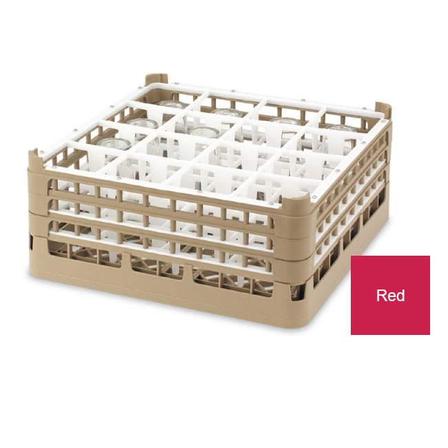 "Vollrath 52780 Dishwasher Rack - 36-Compartment, Tall Plus, Full-Size, 19-3/4x19-3/4"" Red"