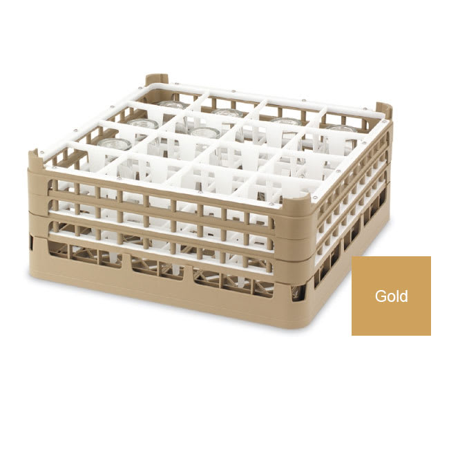 "Vollrath 52780 Dishwasher Rack - 36 Compartment, Tall Plus, Full-Size, 19 3/4x19 3/4"" Gold"