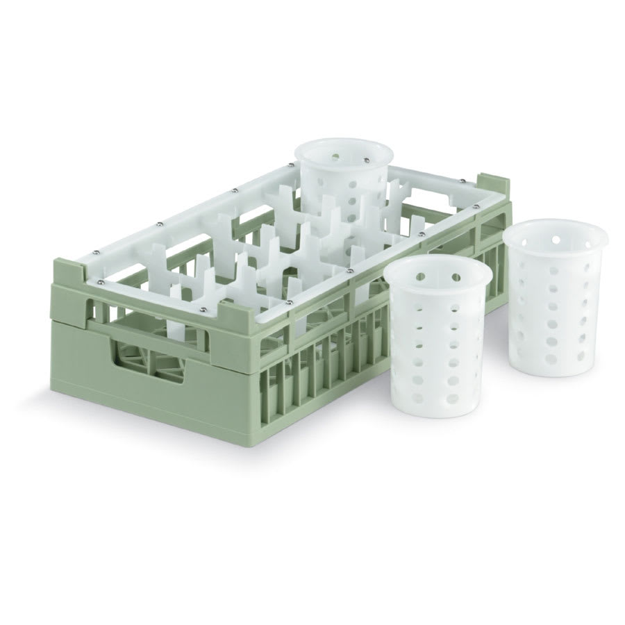 Vollrath 52808 Dishwasher Rack - 8 Compartment, Medium, Half-Size, Green
