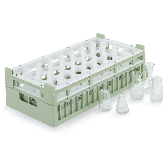 Vollrath 52819 Dishwasher Rack - 32 Compartment, Medium, Half-Size, Green