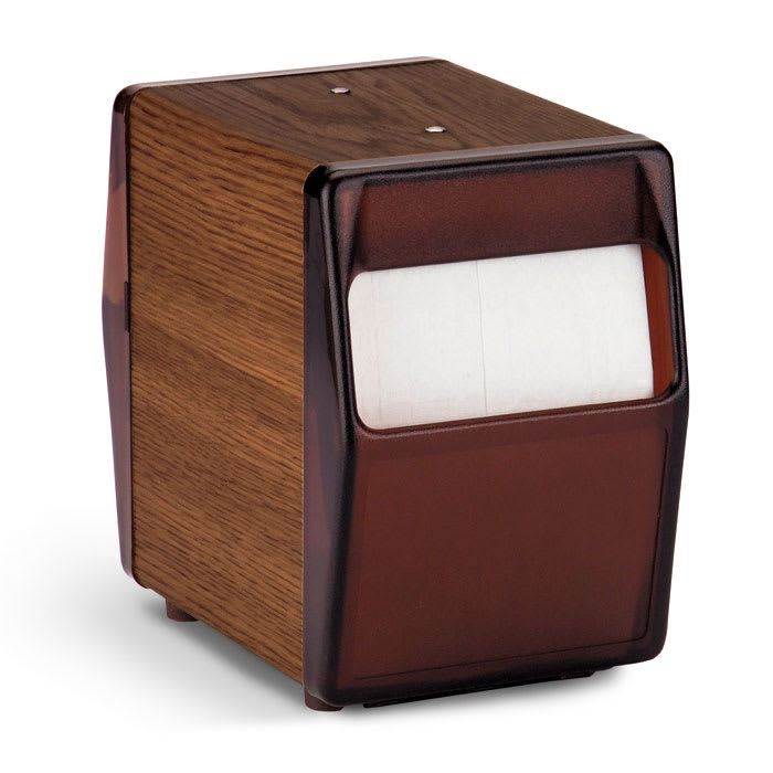 Vollrath 5509-12 Tabletop 2 Sided Napkin Dispenser - Walnut