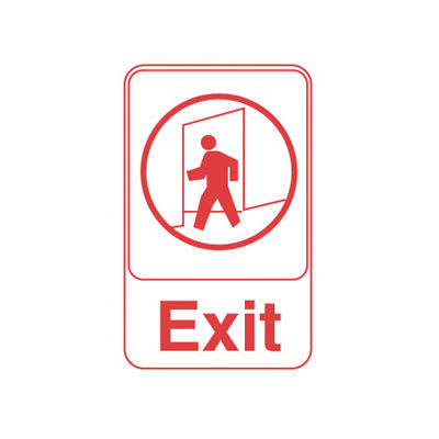 """Vollrath 5609 6x9"""" Exit Sign - Red on White"""