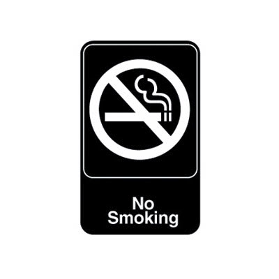 "Vollrath 5613 6x9"" No Smoking Sign - White on Black"