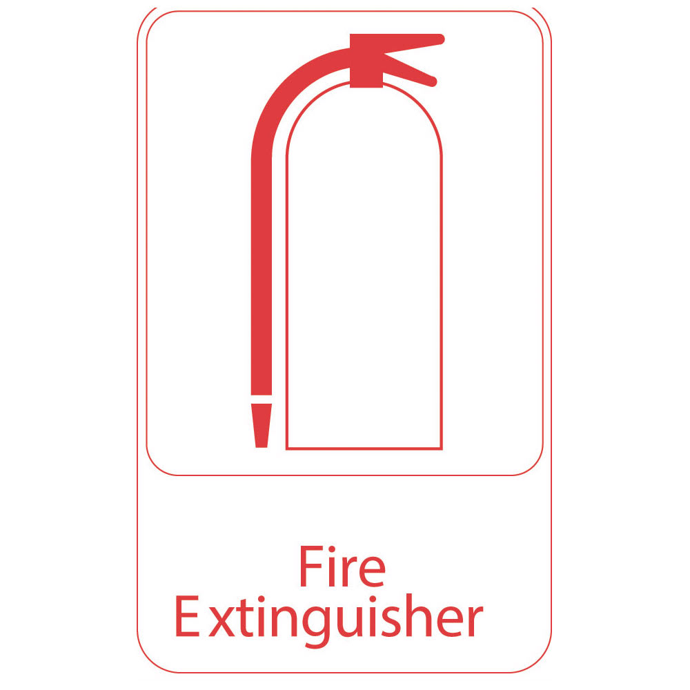 "Vollrath 5618 Fire Extinguisher Sign - 6"" x 9"", Red on White"