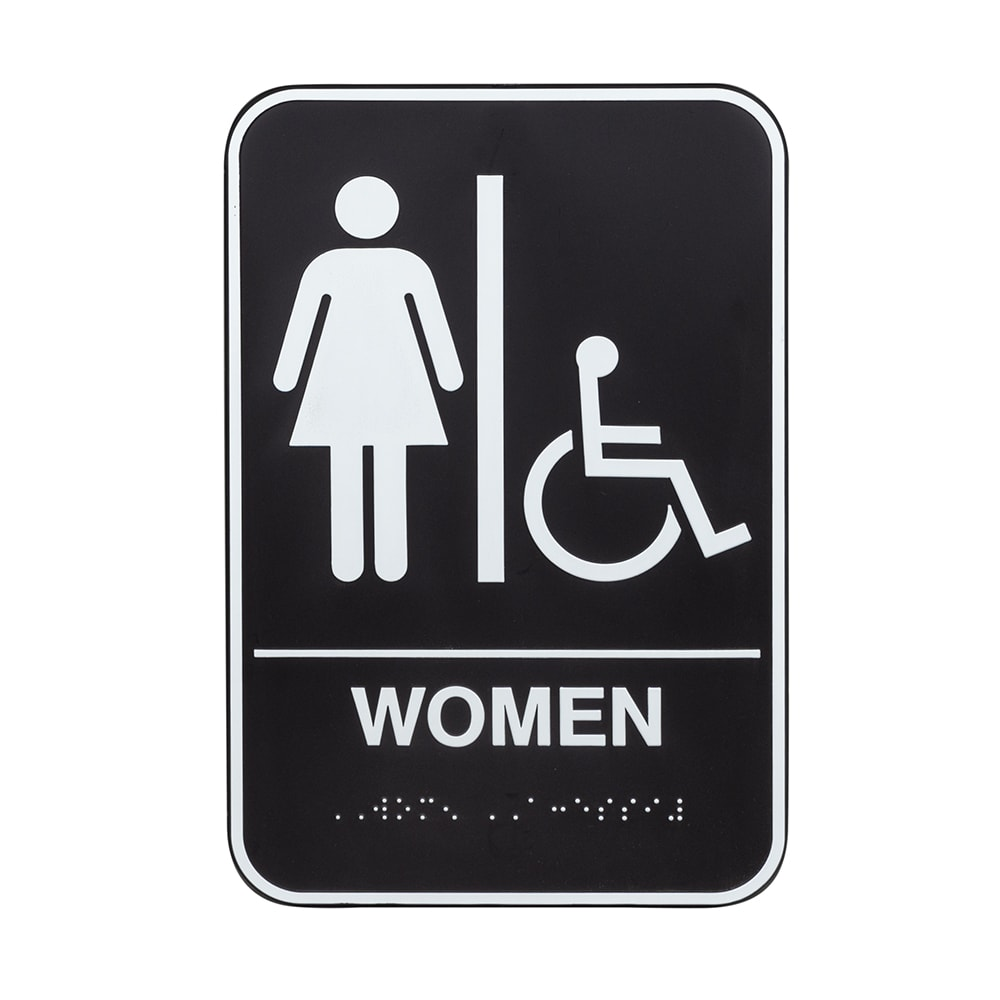 "Vollrath 5630 6x9"" Women/Accessible Sign - Braille, White on Black"