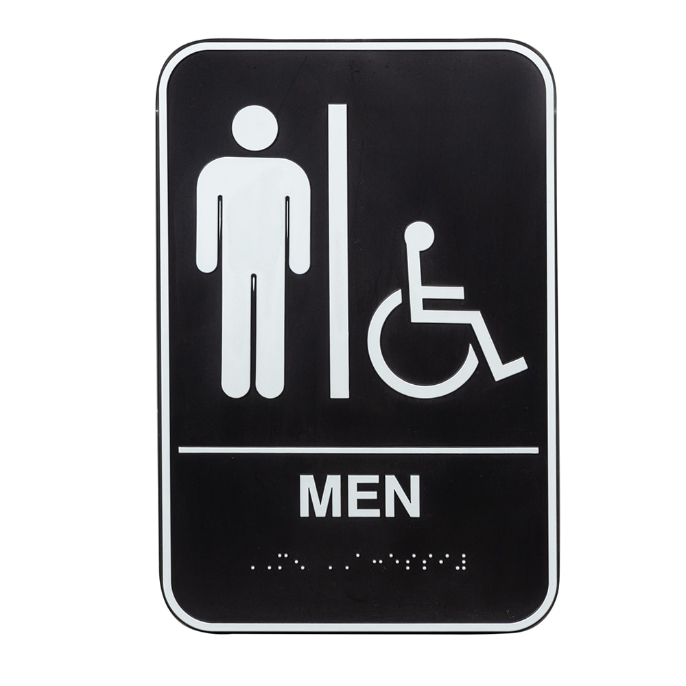 "Vollrath 5631 6x9"" Men/Accessible Sign - Braille, White on Black"