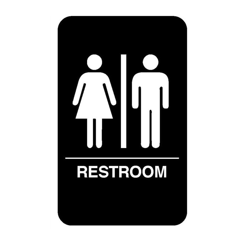 """Vollrath 5633 6x9"""" Restroom Sign - Braille, White on Black"""