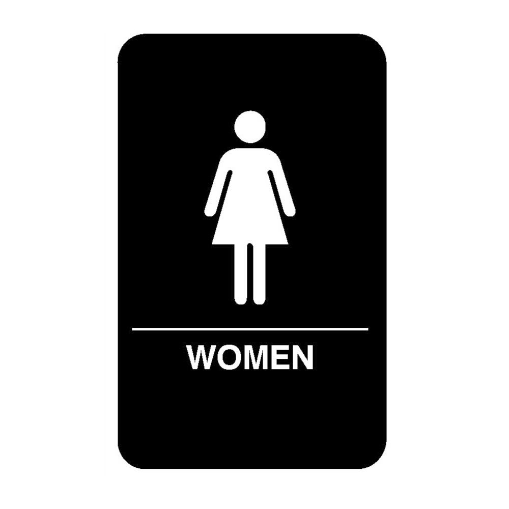"Vollrath 5634 6x9"" Women Sign - Braille, White on Black"