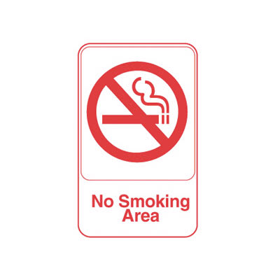 """Vollrath 5643 6x9"""" No Smoking Area Sign - Red on White"""