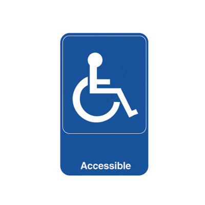 "Vollrath 5644 Accessible Sign - 6"" x 9"", White on Blue"