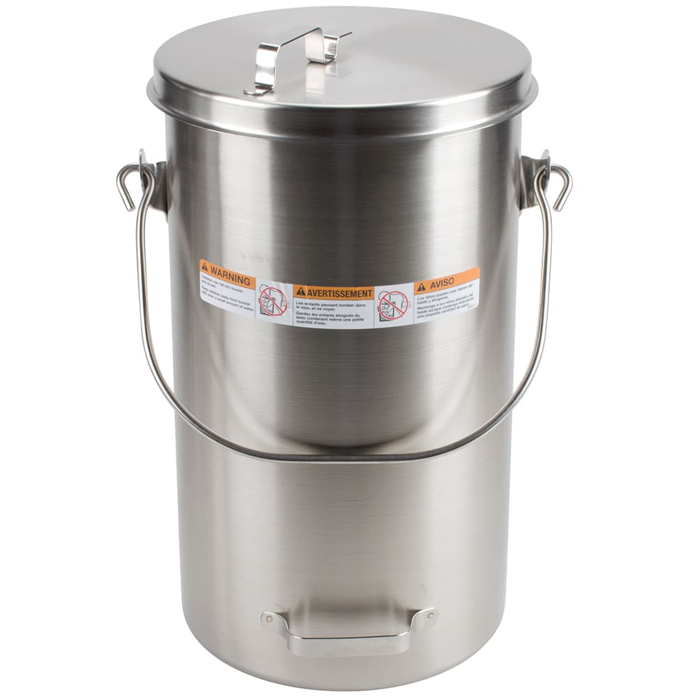 Vollrath 59200 19 3/4 qt Pail with Cover - Welded Side Handle, Stainless