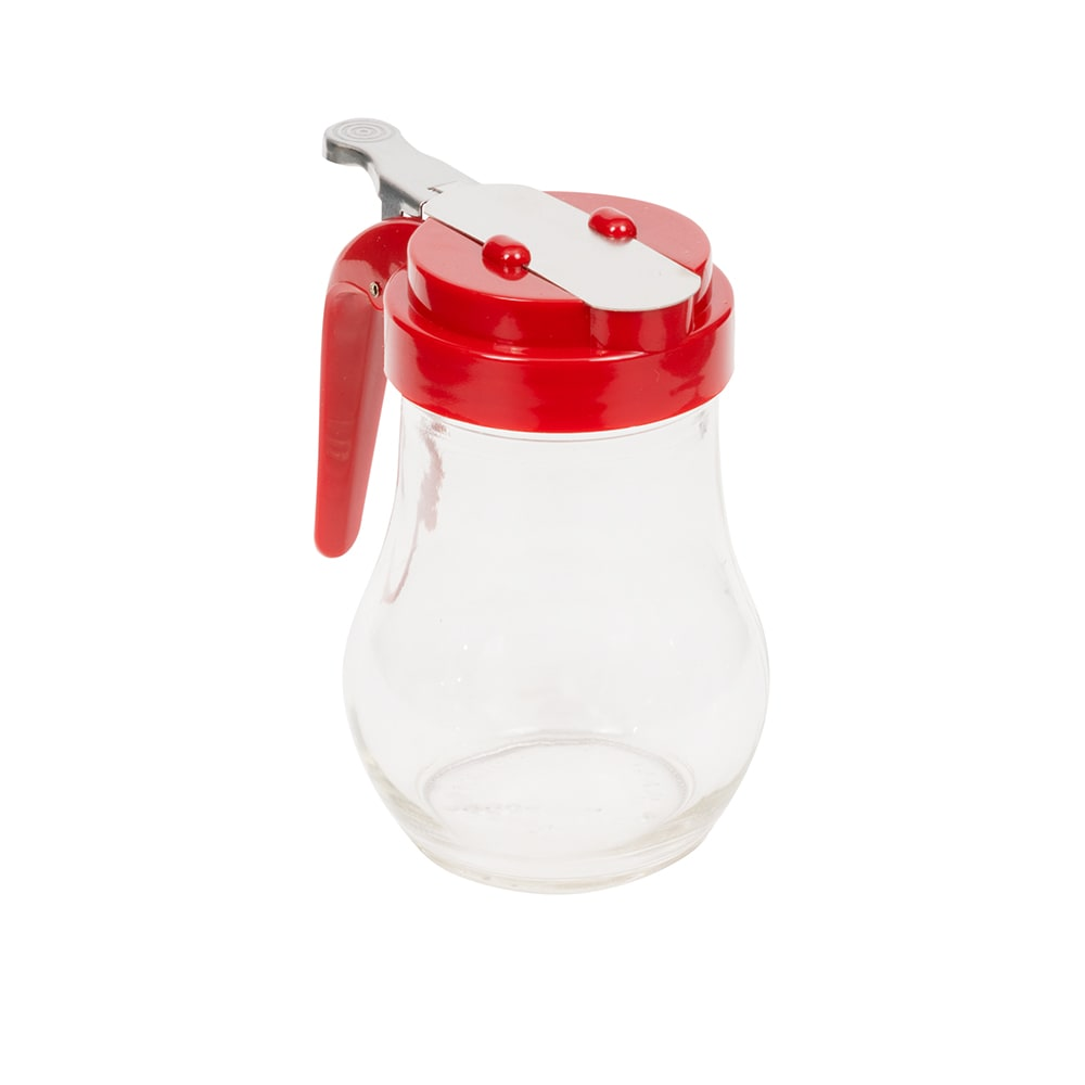 Vollrath 614-02 14-oz Syrup Server - Red Plastic Cap, Glass Jar