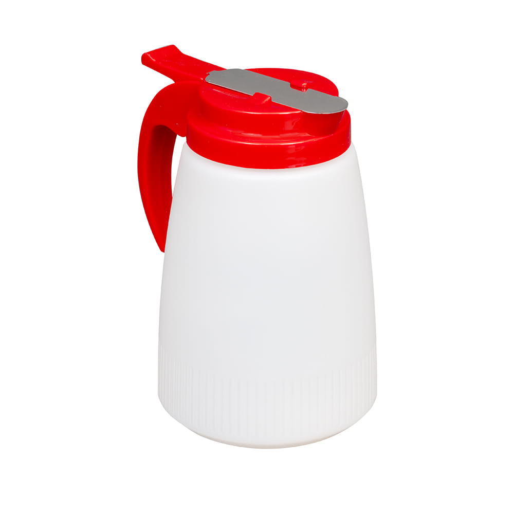 Vollrath 632-02 32 oz Syrup Server - Red Plastic Top, White Poly Jar