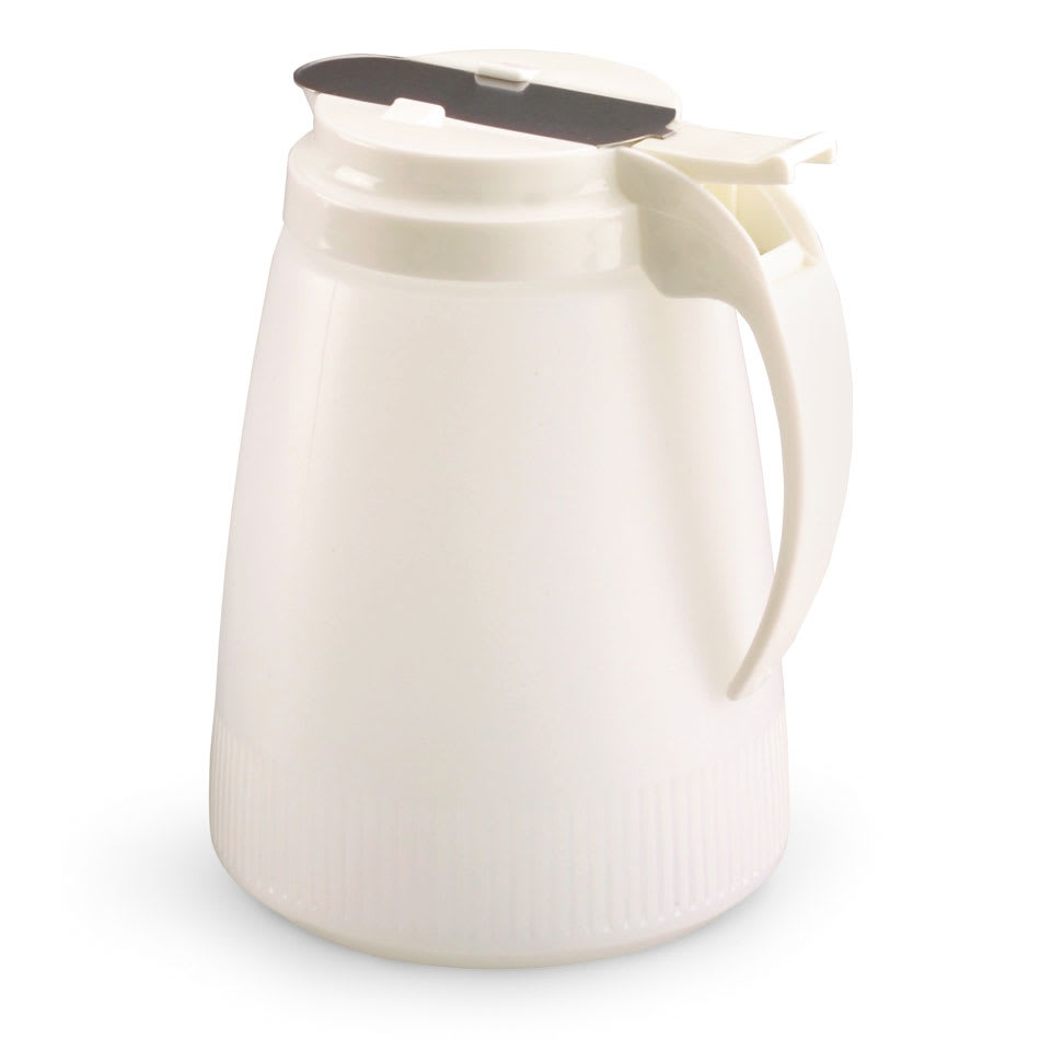 Vollrath 632-05 32 oz Syrup Server - White Plastic Cap, White Poly Jar