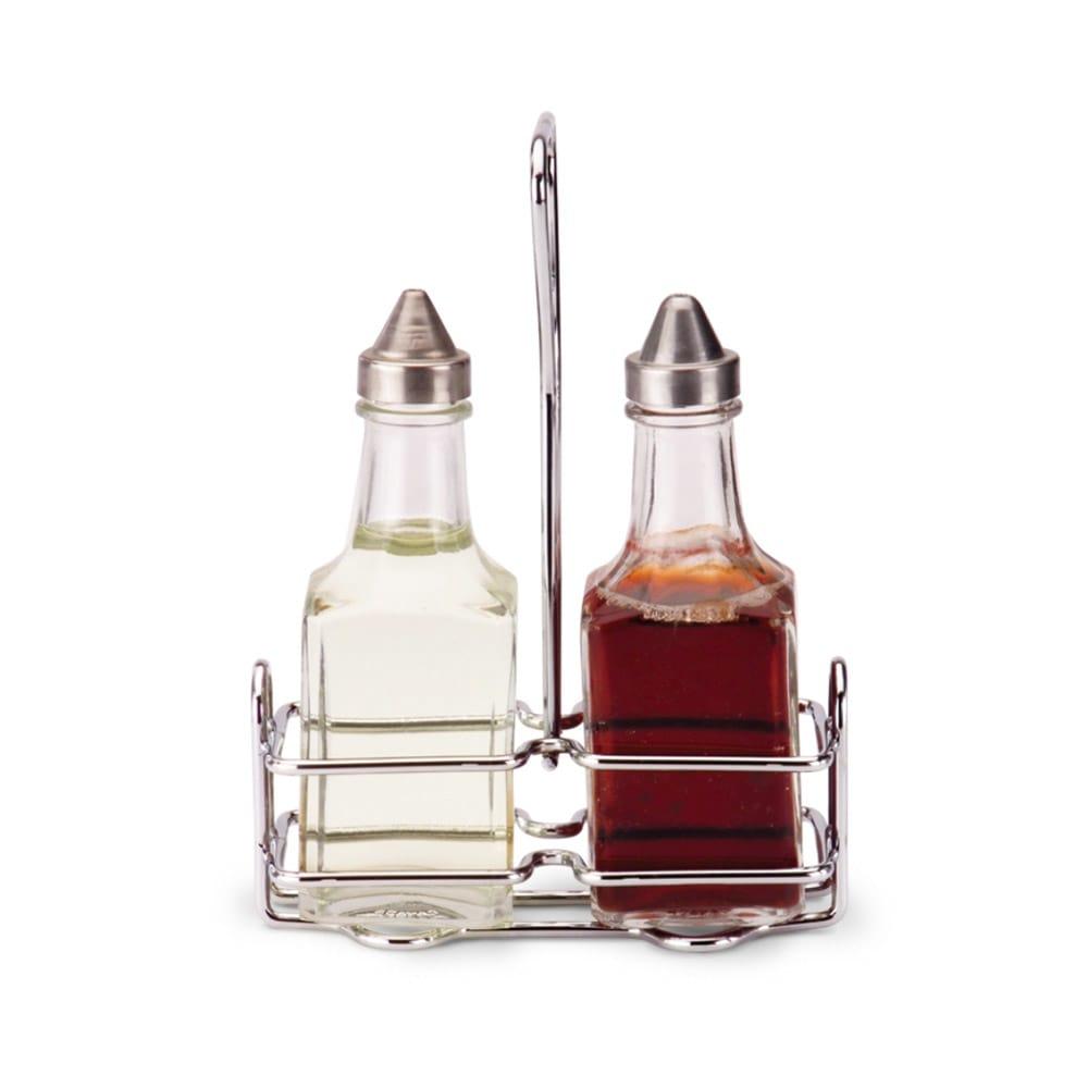 Vollrath 68028 5-oz Oil & Vinegar Cruet Set with Rack - Square Glass Jar