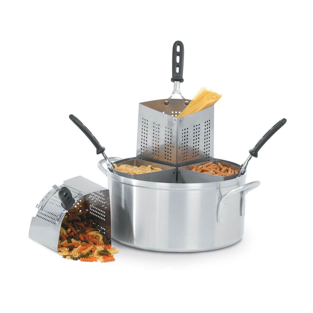 Vollrath 68127 18 1/2 qt Pasta/Vegetable Cooker Set - (4)3 qt Stainless Insets, Aluminum