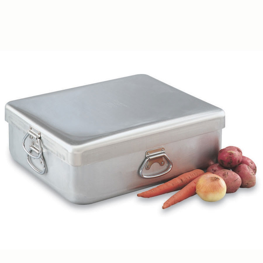 "Vollrath 68390 42 qt Roasting Pan with Cover - Heavy-Duty, 21 5/8 x 18 1/8 x 9"" Aluminum"