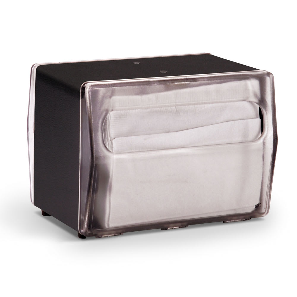 "Vollrath 7516-06 Napkin Dispenser - Table Type, 2-Sided, 6-3/16x4x5-7/8"" Clear Face, Black"