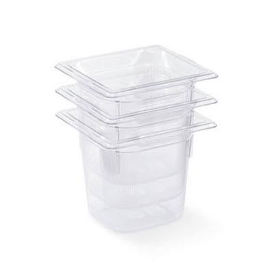 """Vollrath 8062410 1/6 Size Food Pan - 2-1/2"""" Deep, Low-Temp, Clear Poly"""
