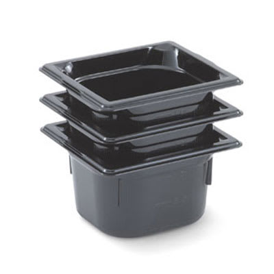 "Vollrath 8062420 1/6 Size Food Pan - 2 1/2"" Deep, Low-Temp, Black Poly"