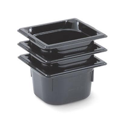 "Vollrath 8064420 1/6 Size Food Pan - 4"" Deep, Low-Temp, Black Poly"