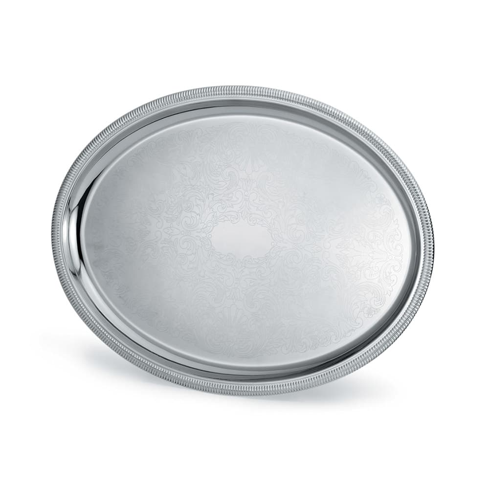 """Vollrath 82111 Oval Serving Tray - 21 3/4x16"""" Gadroon Edge, 18 ga Stainless"""