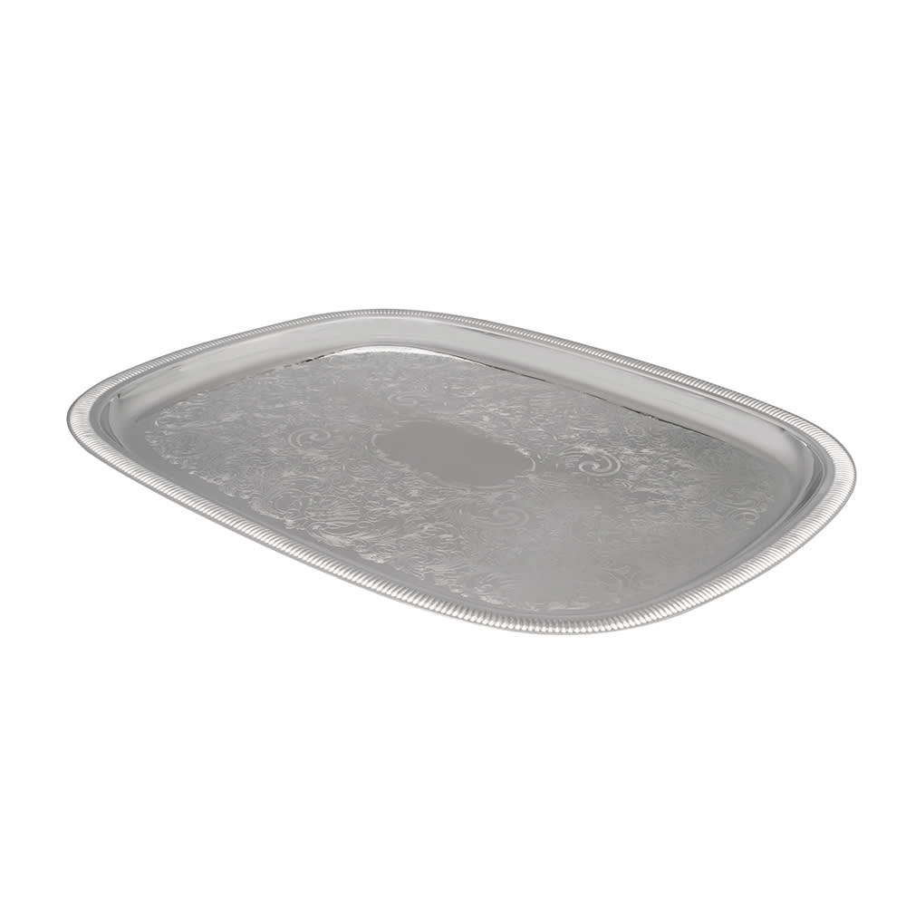 "Vollrath 82121 Oblong Serving Tray - 23-1/2x18-1/2"" Gadroon Edge, 18-ga Stainless"