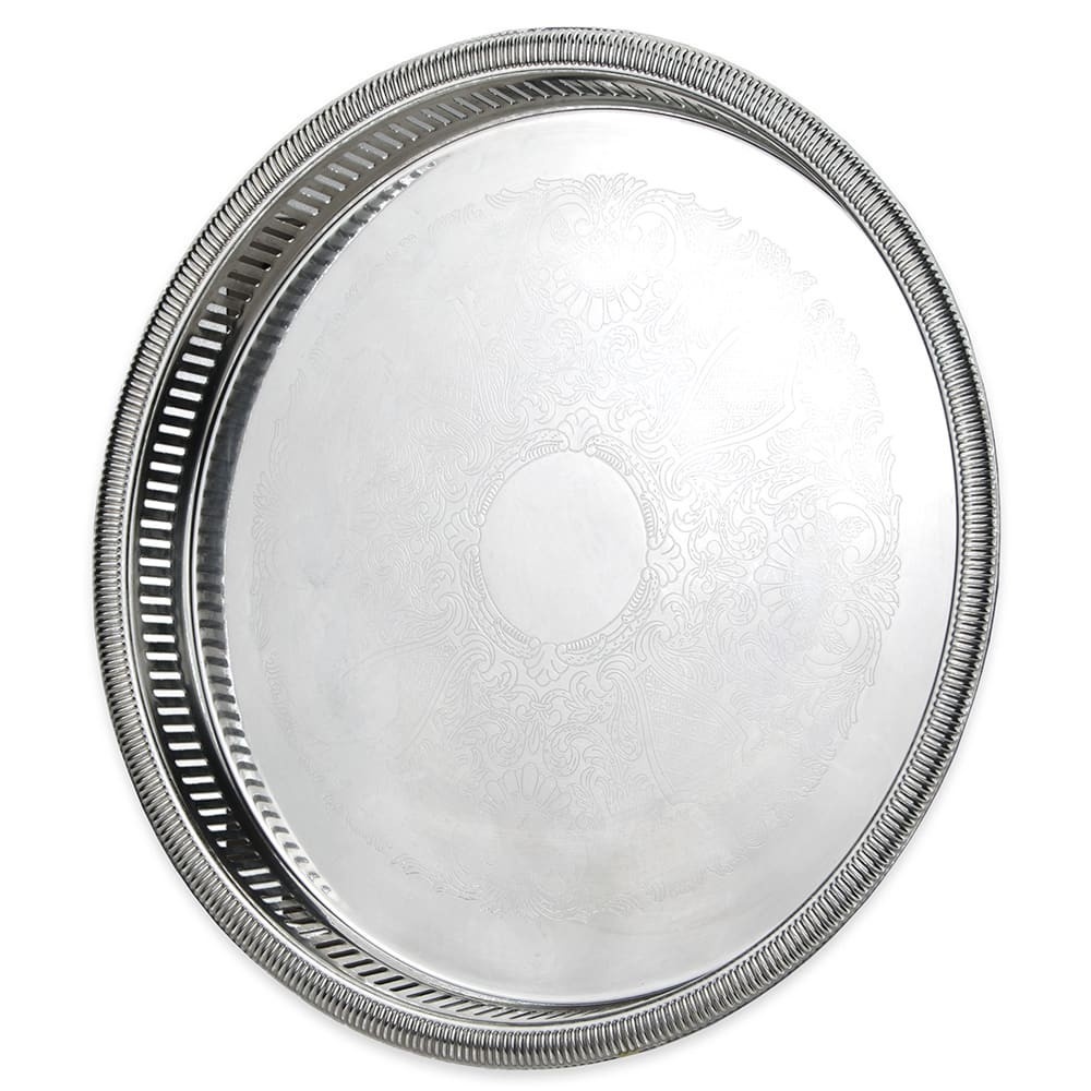"Vollrath 82131 15 1/4"" Round Serving Tray - 1 1/2"" Deep, Gadroon Edge, Stainless"