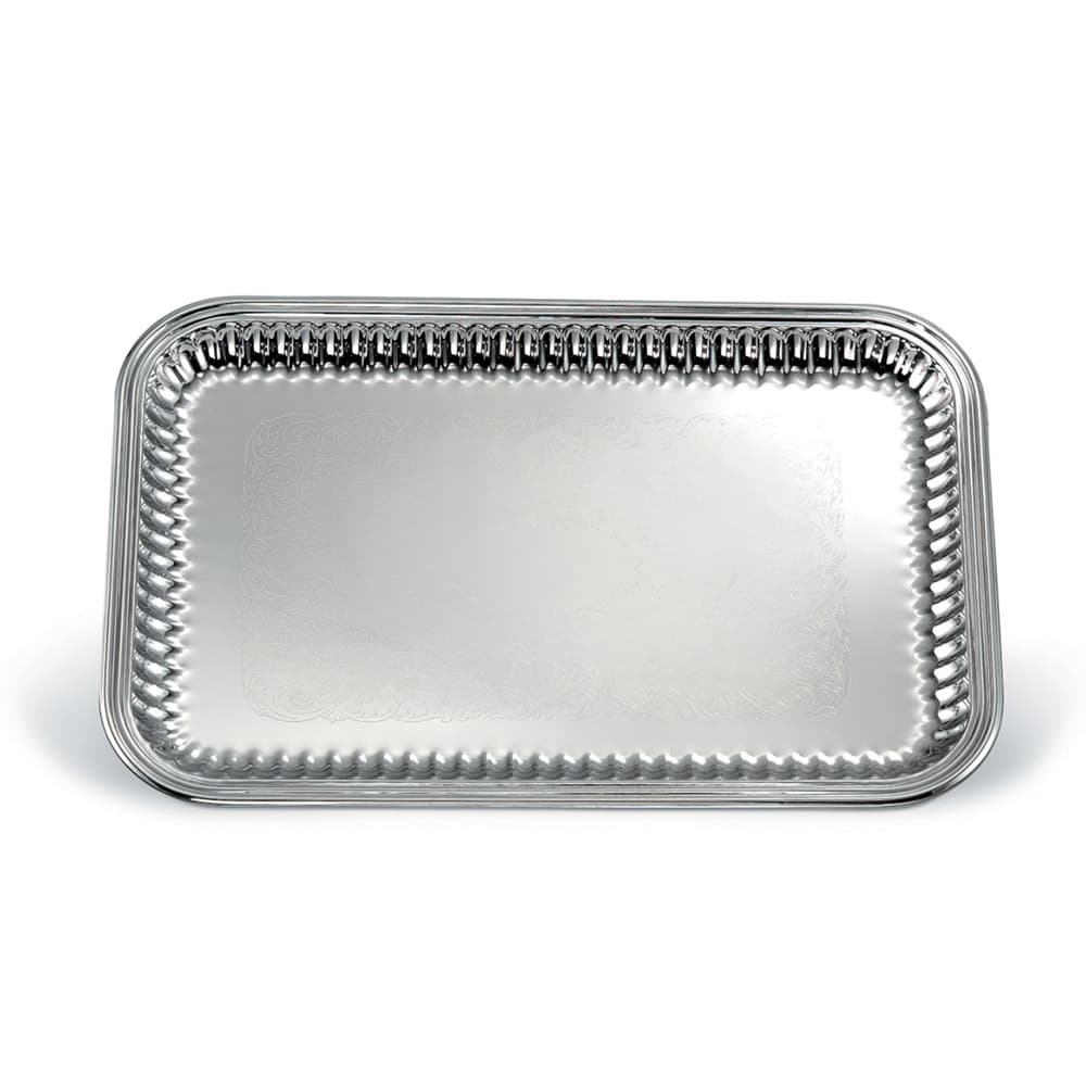 """Vollrath 82167 Rectangular Fluted Serving Tray - 14-1/4x21"""" Stainless"""