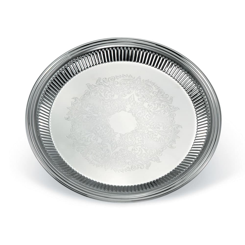 """Vollrath 82168 12"""" Round Fluted Serving Tray - Stainless"""