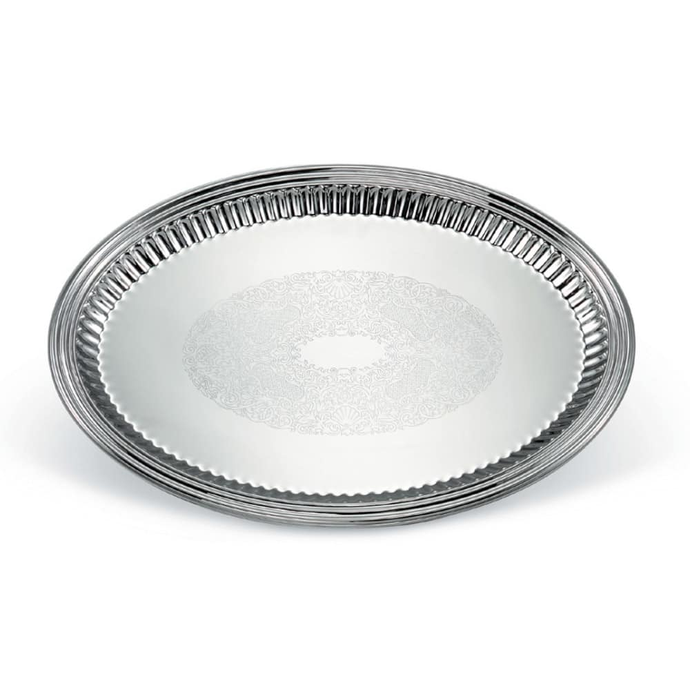 """Vollrath 82172 Oval Fluted Serving Tray - 13x17 5/8"""" Stainless"""