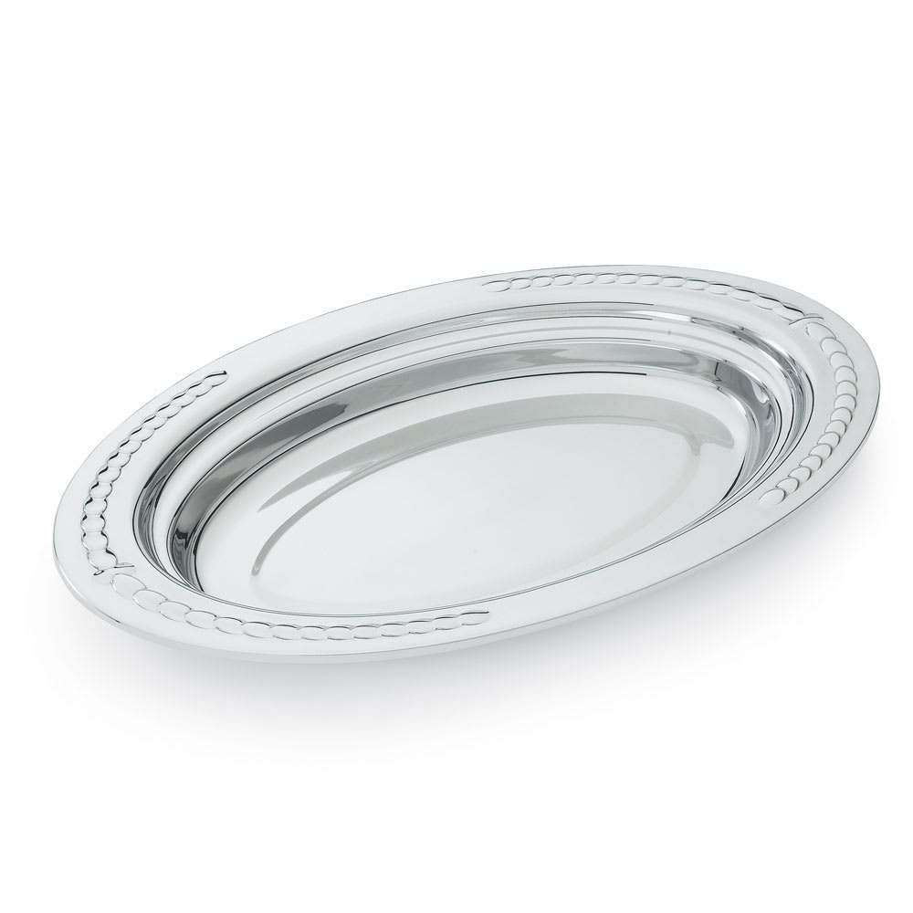 "Vollrath 8231420 3 qt Decorative Oval Foodpan - 19 1/16x11 7/8x2"" Mirror-Finish Stainless"