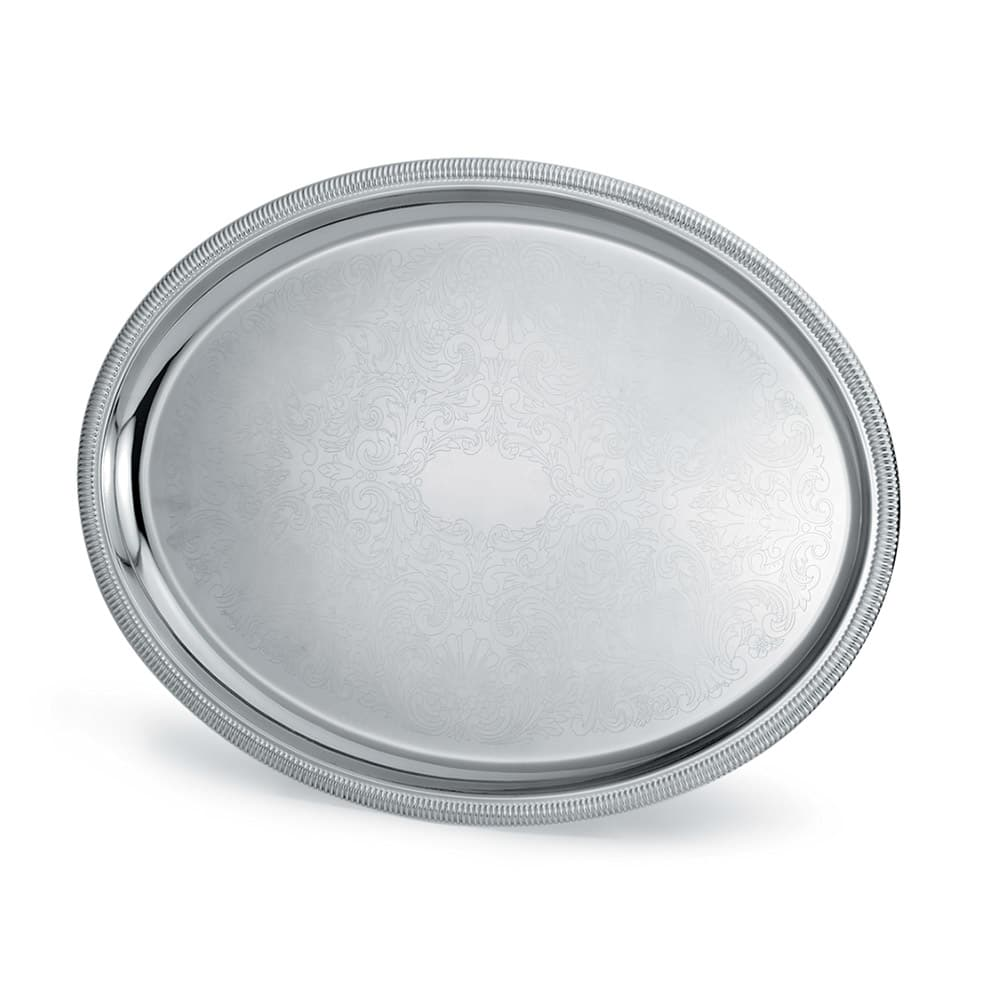 "Vollrath 82372 Oval Serving Tray - 17-7/8x13-7/8"" Scalloped Gadroon Edge, Silverplated"