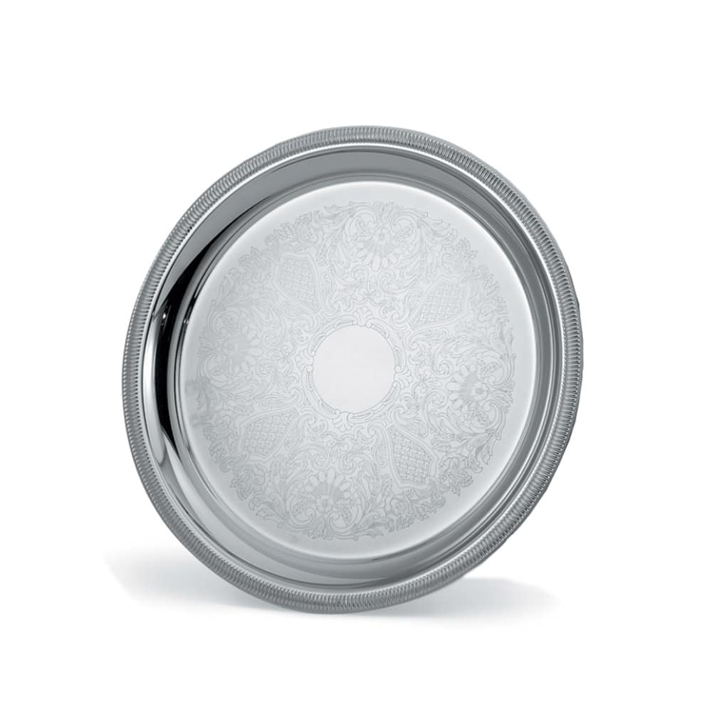 """Vollrath 82375 15-1/4"""" Round Serving Tray - 1-1/2"""" Deep, Gadroon Edge, Silverplated"""