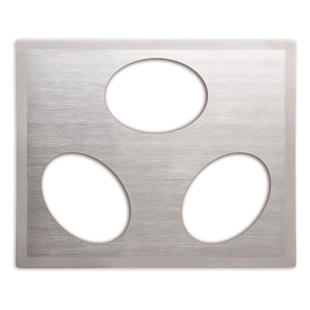 Vollrath 8250116 Miramar Double-Well Template - (3) Small Oval Pans, Satin-Edge Stainless