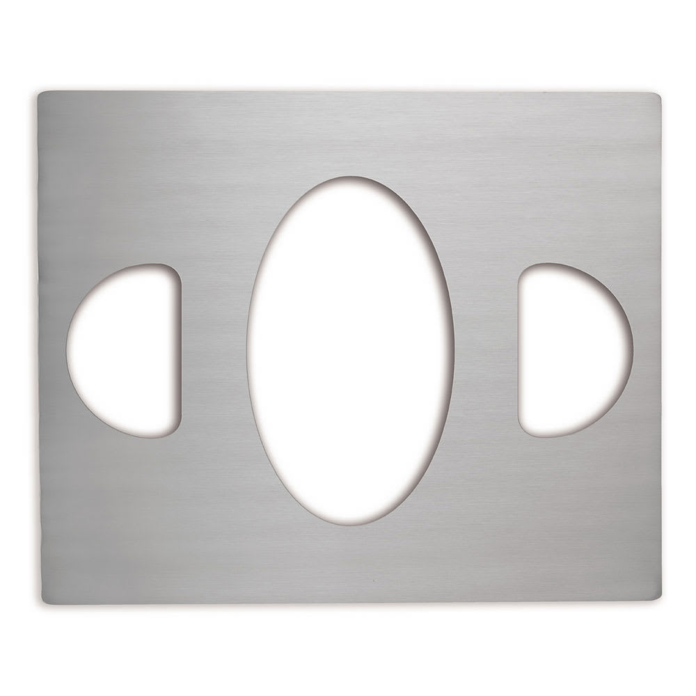 Vollrath 8250414 Miramar Double-Well Template - (1) Large Oval and (2)1/2 Ovals, Stainless