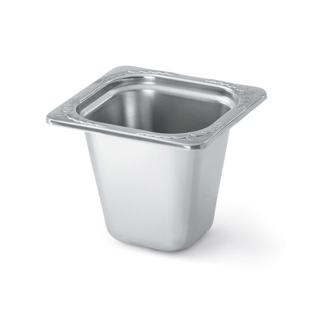 "Vollrath 8266220 Miramar 1/6 Size Decorative Foodpan - 6"" Deep, Mirror-Finish Stainless"