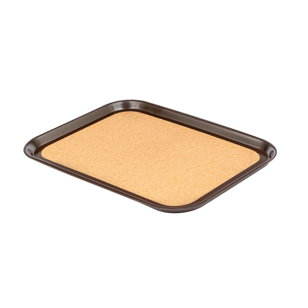"Vollrath 86326 Rectangular Cork-Lined Serving Tray - 12x16"" Brown"