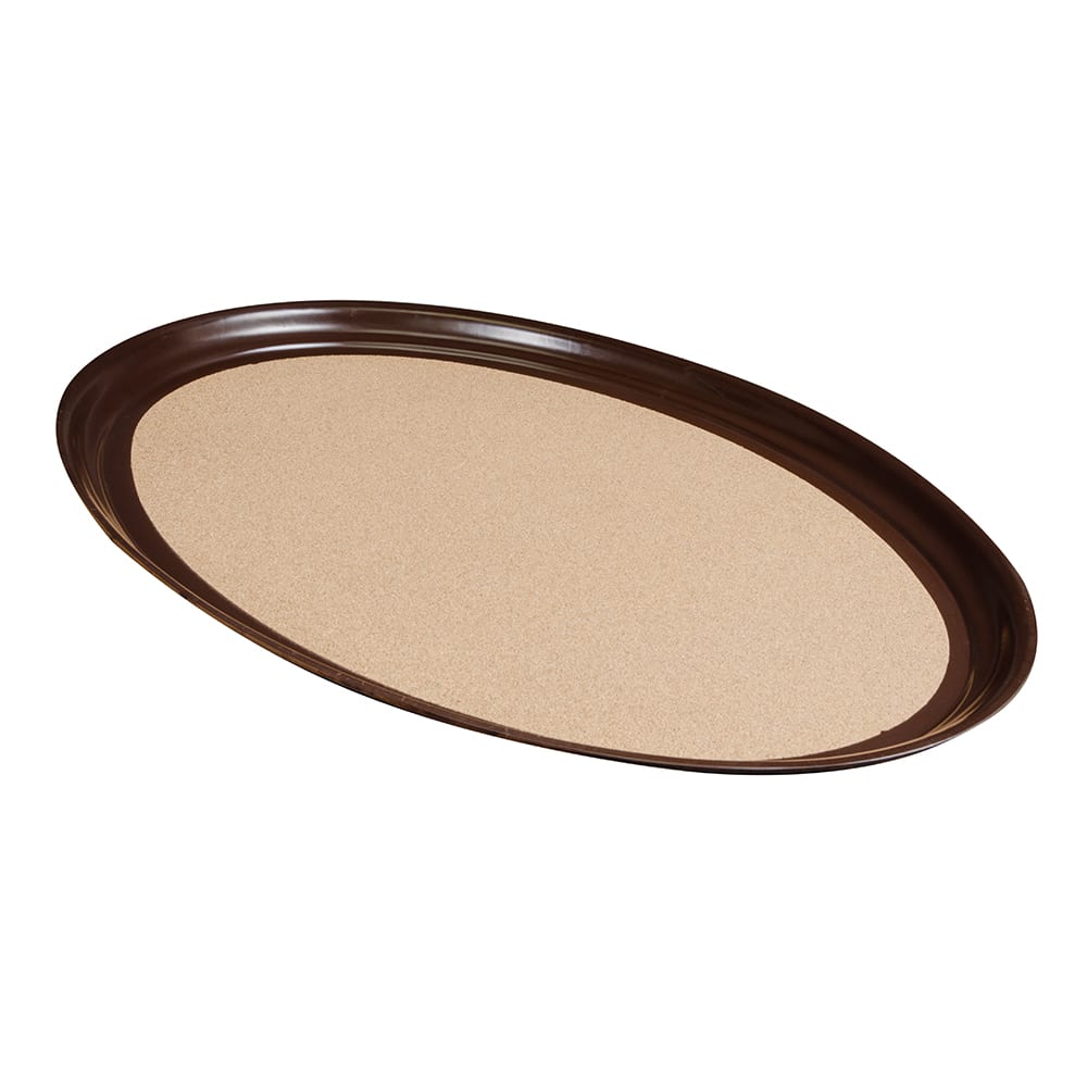 "Vollrath 86334 Oval Cork-Lined Serving Tray - 23x28"" Brown"
