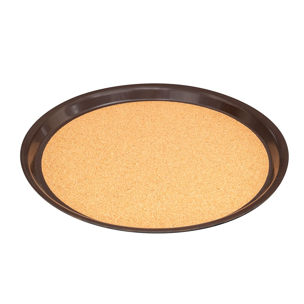 "Vollrath 86339 14"" Round Cork-Lined Serving Tray - Brown"
