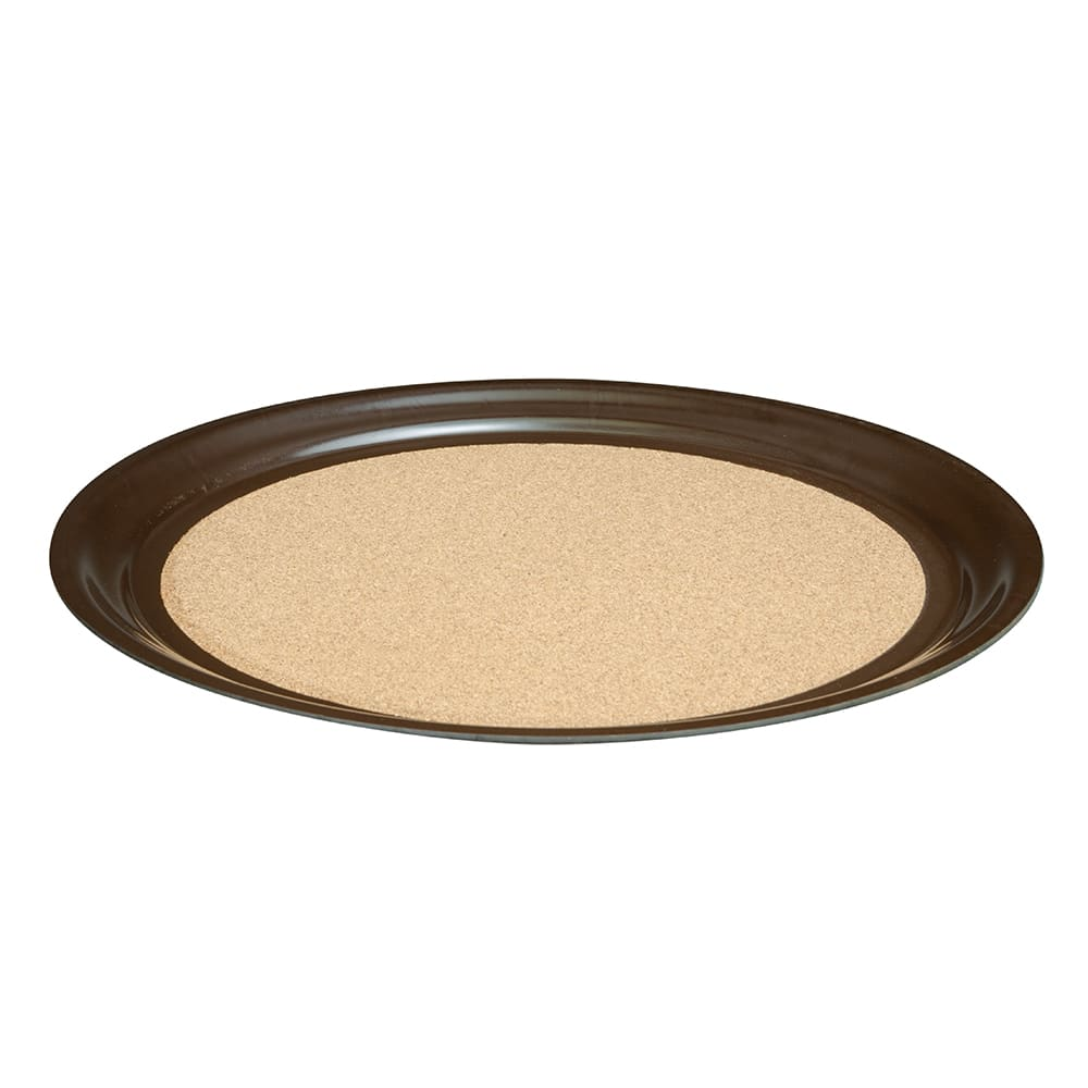 """Vollrath 86341 16"""" Round Cork-Lined Serving Tray - Brown"""