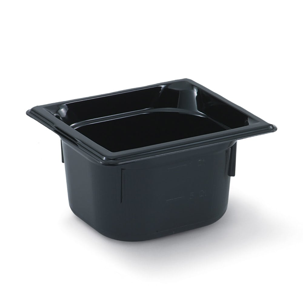 "Vollrath 9062420 1/6 Size Hot Food Pan - 2-1/2"" Deep, Black"