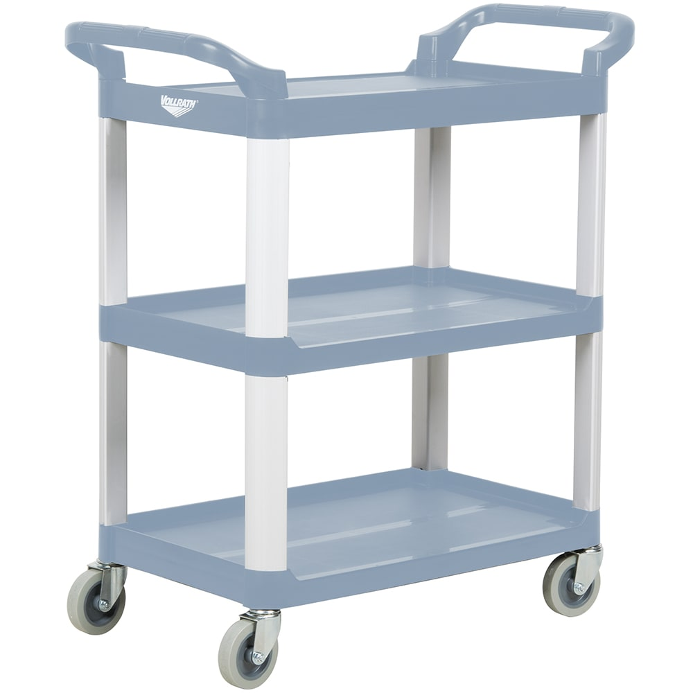 Vollrath 97004 3-Level Polymer Utility Cart w/ 300-lb Capacity, Raised Ledges