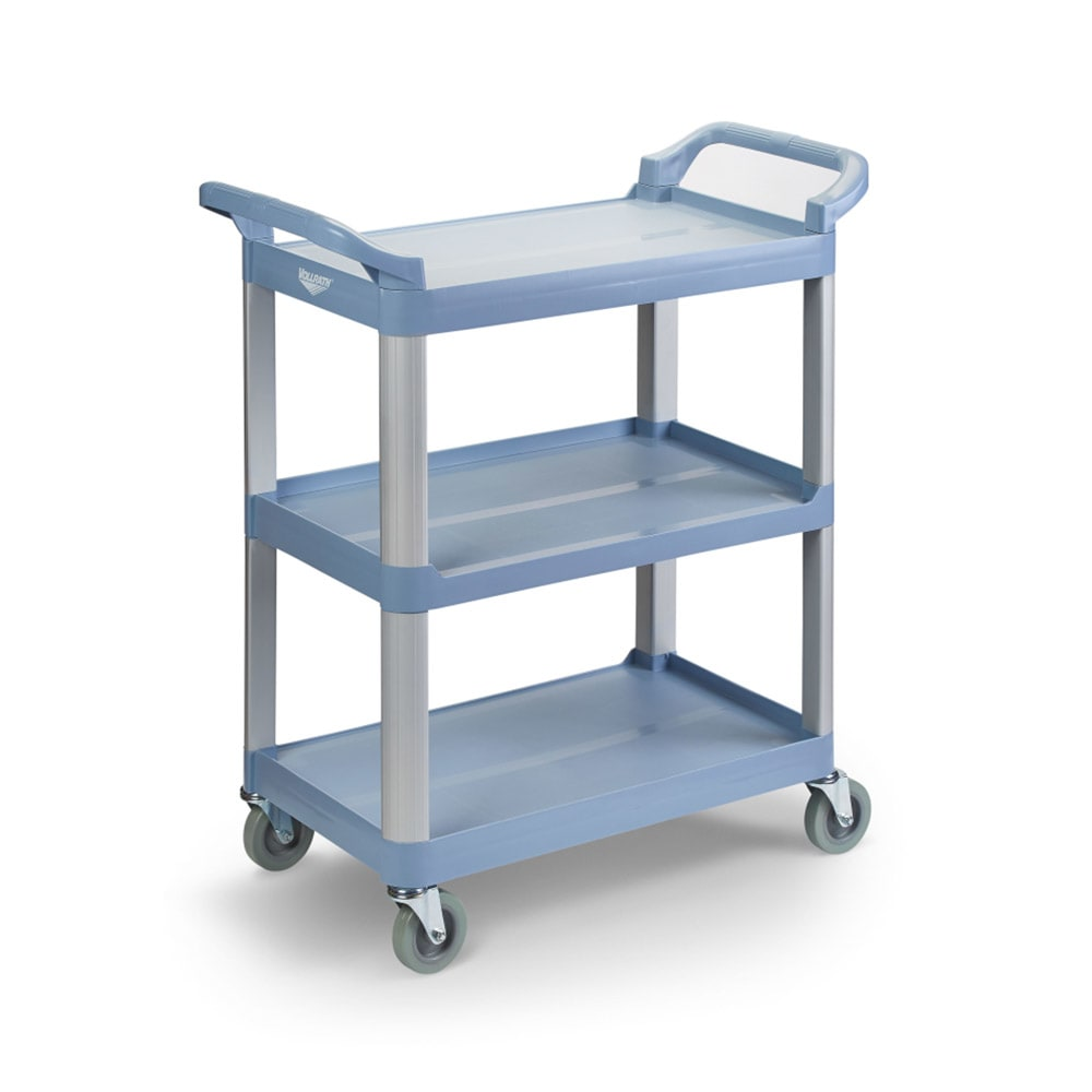 Vollrath 97005 3-Level Polymer Utility Cart w/ 300-lb Capacity, Raised Ledges