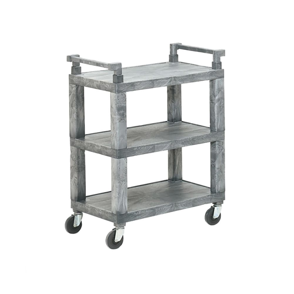 "Vollrath 97111 30.5""L Polymer Bus Cart w/ (3) Levels, Shelves, Gray"