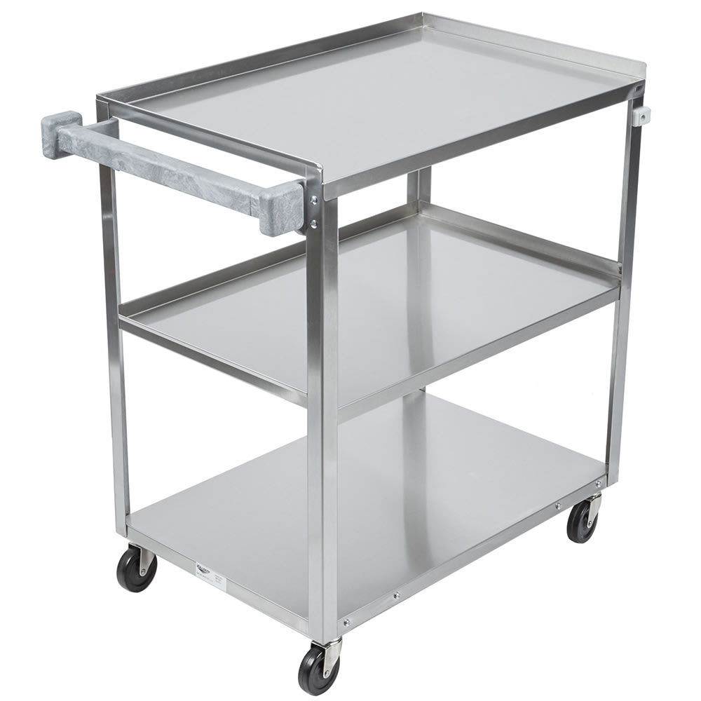 Vollrath 97126 3-Level Stainless Utility Cart w/ 400-lb Capacity, Raised Ledges