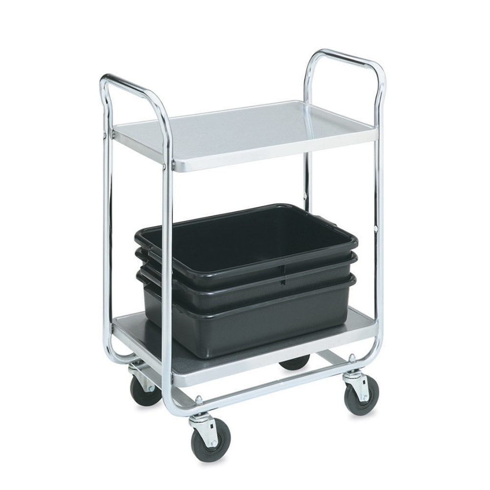 Vollrath 97166 2-Level Chrome Plated Utility Cart w/ 400-lb Capacity, Raised Ledges