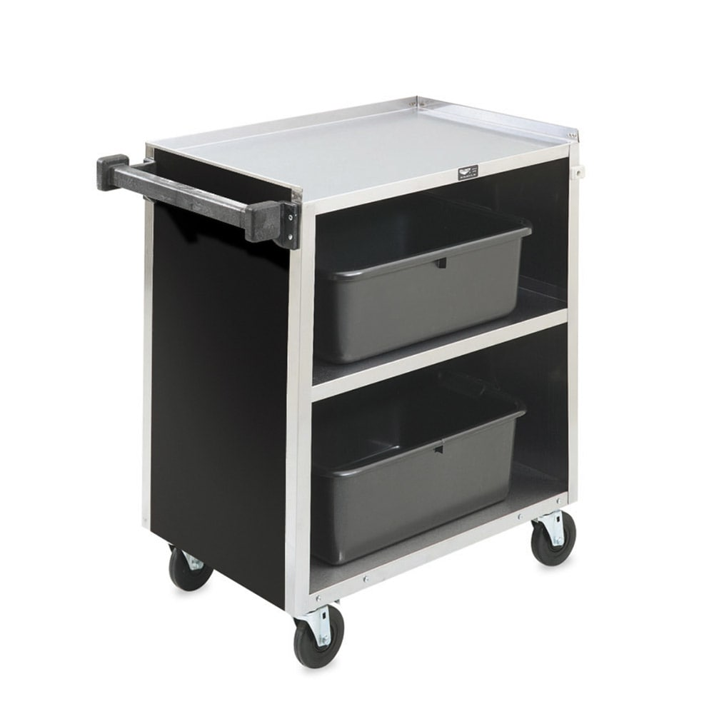 "Vollrath 97181 39.5""L Polymer Bus Cart w/ (3) Levels, Shelves, Black"