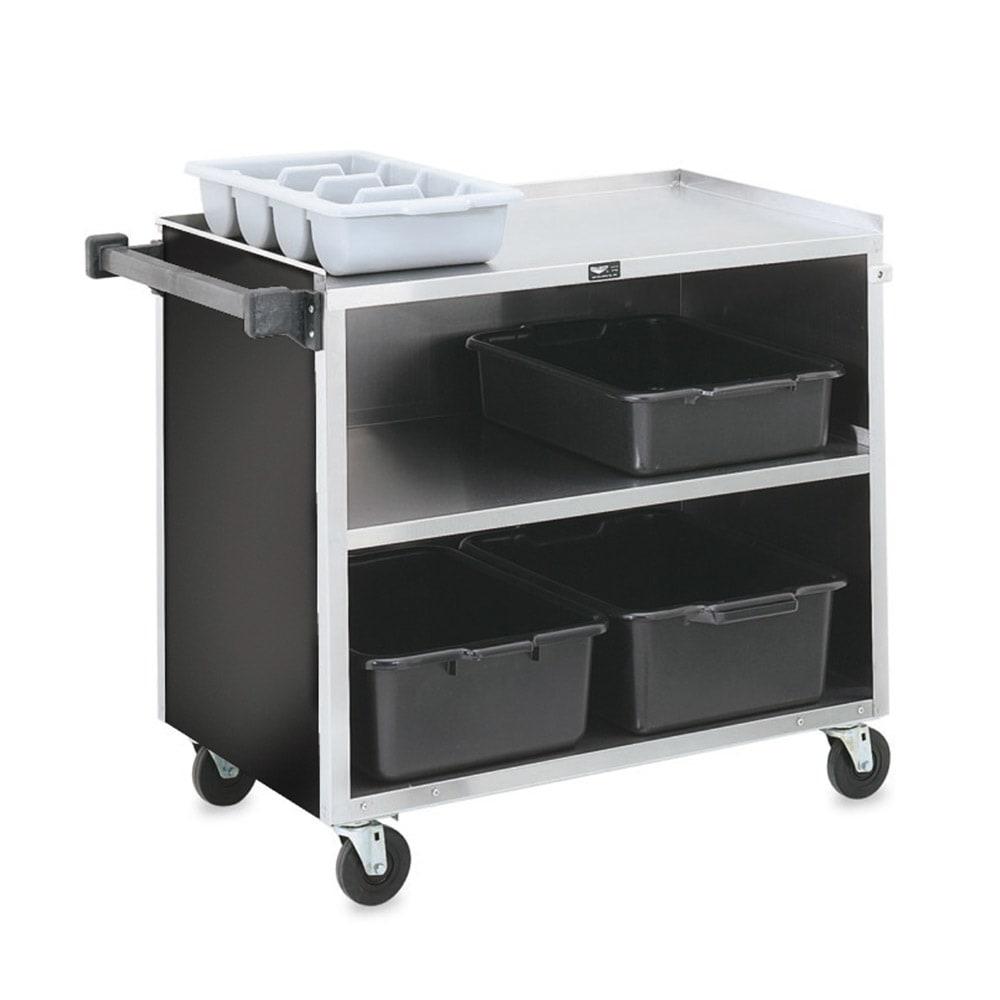 "Vollrath 97182 39.5""L Polymer Bus Cart w/ (3) Levels, Shelves, Black"